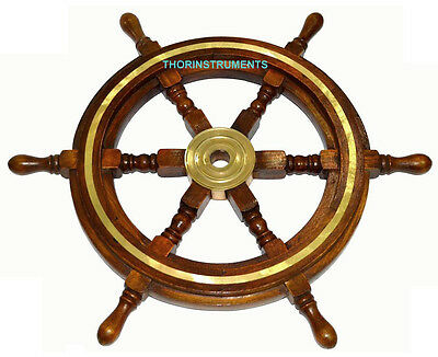 """Wooden Ship Wheel Maritime Pirate Captain Decor 18"""" Ships Boat Steering Wood"""