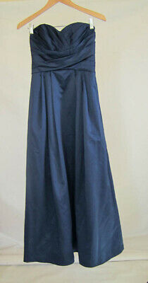d3f677332530 Davids Bridal Formal and Bridesmaid navy blue size 4 Maxi length 100%  Polyester