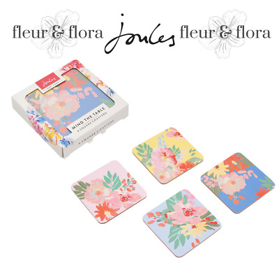 Joules | Kitchen Coasters | Set Of 4 Cork backed | Flower design | Free P&P