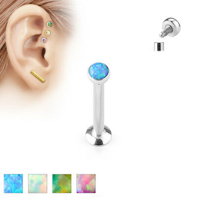Piercing Labret Borchie 4mm/6 mm/ 8 mm in Acciaio Inox Chirurgico Synth.opal