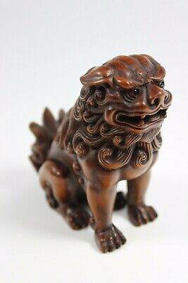 Antique 19th Century Chinese Hand Carved Wooden Fo-Dog 8x7x4cm