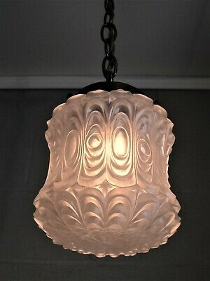 Chandelier Pendant Light  Brass Hanging Ceiling Fixture Frosted Shade Vintage