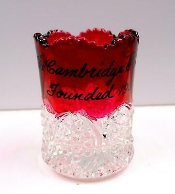 Cambridge Glass Co. Ruby Mancha Botones Arcos Souvenir 5.7cm Palillero