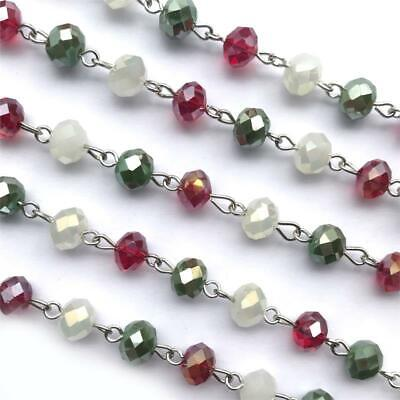 White Red Green Crystal Glass Beaded Rosary Antique Silver Eyepin Chain 8mm 2ft