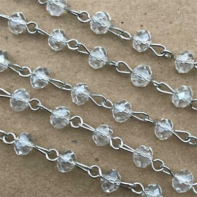 Clear Crystal Crystal Glass Beaded Rosary Antique Silver Eyepin Chain 6x4mm 2ft