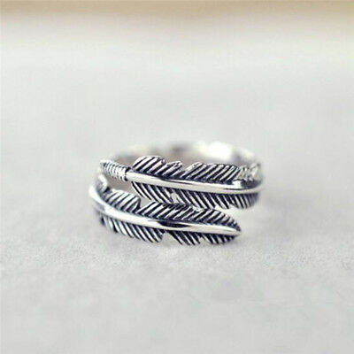 1 Pc Vintage Feather Arrow Opening Rings For Women And Men Silver Jewelry USCYN