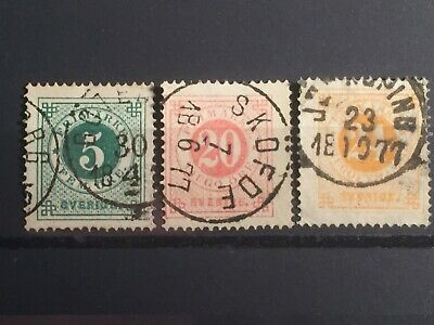 Scott #19 & 23-24 1872-77 Sweden Perf 14 Stamps Used