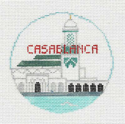 *2019* CASABLANCA, MOROCCO handpainted Needlepoint Canvas by Kathy Schenkel RD.