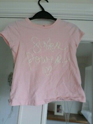 George Girls Pink Top T-Shirt Age 5-6 Years 'Sister Power'