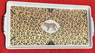 Lynn Chase Amazonian Jungle Jaguar Serving Platter Tray 24K gold decorated 12x7""