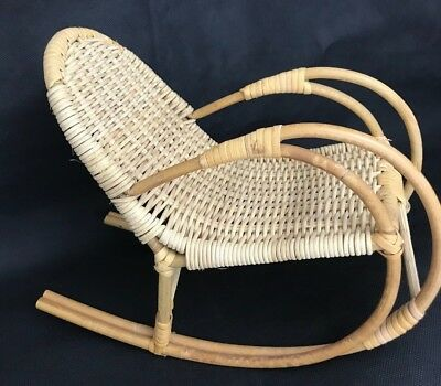"""MINIATURE WOOD ROCKING CHAIR Modern Natural 9""""""""W  X 9"""" H doll OR TABLETOP"""