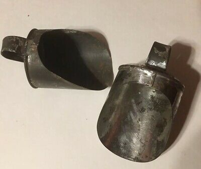2 Antique Small Tin Grain, Flour Etc Scoops With Finger Loop