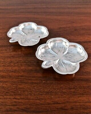 (2) Lenox Sterling Silver Butter Pats / Nut Dishes Four Leaf Clover No Monograms