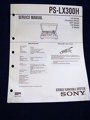 SONY PS-LX300H TURNTABLE RECORD CHANGER 1996 Owner's Service Manual