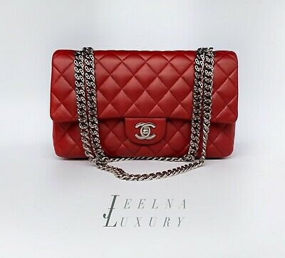 cc377dae08e4 CHANEL CLASSIC FLAP Red Burgundy Brown Quilted Lambskin Bronze ...