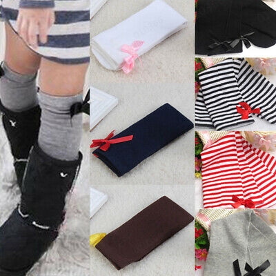Cute One Pair Baby Kids Girls Children Leg Warmers Bowknot Cotton Stockings