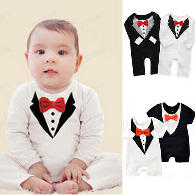 Toddler Newborn Baby Boys Girls Gentleman Bow Tie Printed Tops Bodysuit Romper