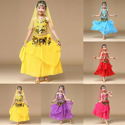 823818c05 Girl Child kid Costume Belly Dance Dress India Dance Clothes Top+Skirt