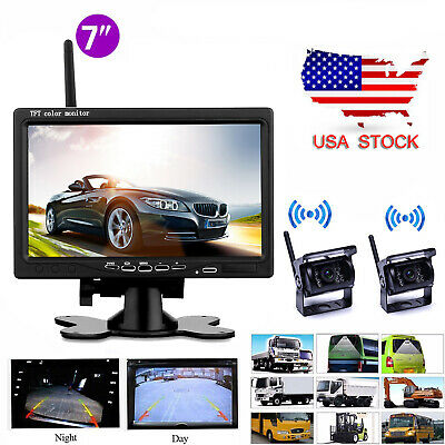 "Wireless 7"" LCD Rear View Monitor +2x Bus Truck RV IR Night Vision Backup Camera"