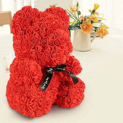 "Red Rose Bear Flower Teddy 16"" For Mother's day Wedding Birthday Anniversary"