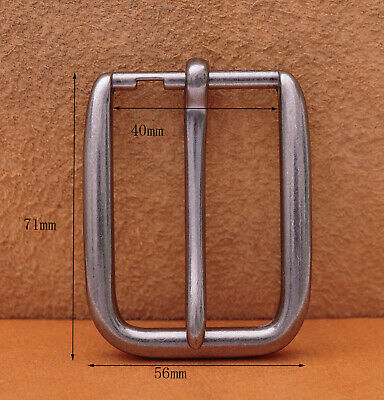 Solid Silver Long Big Heavy Single Prong Pin Leather Belt Buckle Fits 40MM Strap