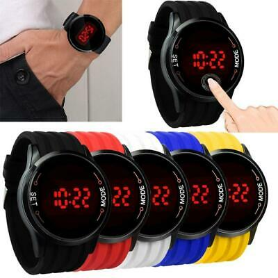 Mens Fashion Waterproof  Watch LED Touch Screen Date Silicone Wrist Black Watch