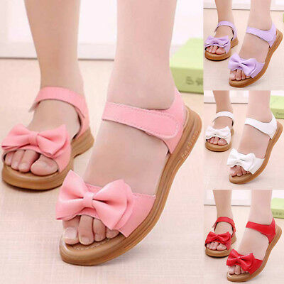 Child Kids Baby Girl Bowknot Sandals Leather Sandles Summer Party Princess Shoes
