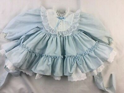 Vtg Blue Baby Dress w/ Lace Ruffles Vintage Infant Stains