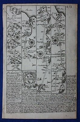 Original antique road map YORKSHIRE, WHITBY, SCARBOROUGH, Owen & Bowen, 1724