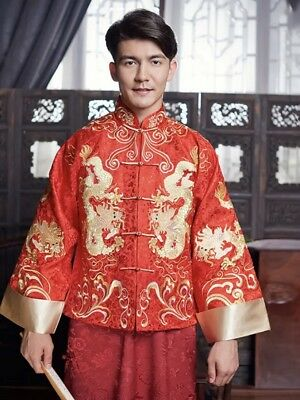 As new red and gold chinese groom embroidered dragon long robe cheongsam