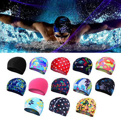 Children Kids Adults Easy Fit Swimming Hat Swim Bathing Nylons Spandex Fabric