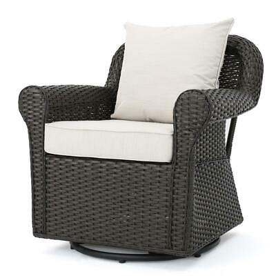 Wicker Outdoor Rocking Chair Seat Armchair Furniture Beige Cushion Dark Brown