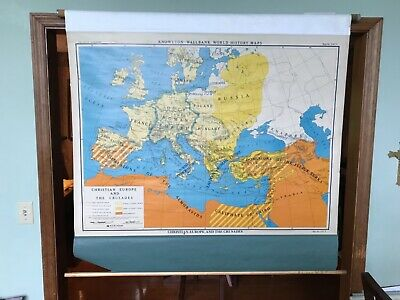 Vintage Nystrom Christian Europe And The Crusades Pull Down Catholic School Map