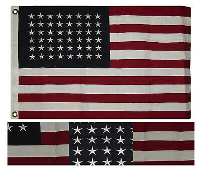 HEAVY COTTON 48 STAR AMERICAN FLAG - OLD GLORY SEWN & EMBROIDERED 2x3 HISTORICAL
