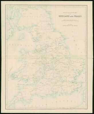 1868 - Original Colour Antique Map of ENGLAND & WALES Inland Navigation (FC45)
