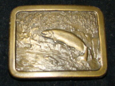 Vtg TROUT Fish Indiana Metal Craft Belt Buckle Brass tone 1977 Fishing