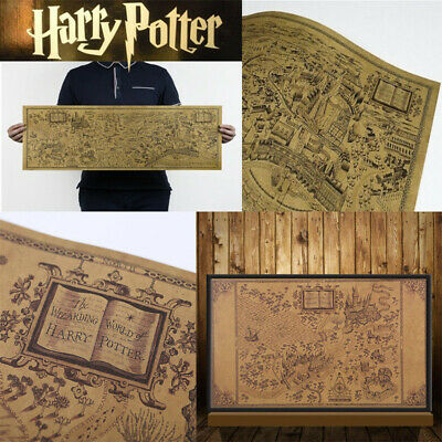 2 Style Harry Potter Map of The Wizarding World Poster Vintage Retro Wall Paper