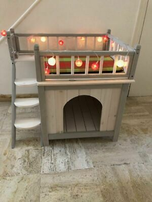 Outdoor Cat Dog House Pet Shelter Kennel Room Indoor Outside Wooden Deck Stairs
