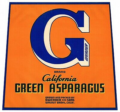 Crate Label Vintage Asparagus 1920S  Walnut Grove Big G Gwerder California