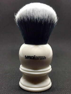 Yaqi 22mm Synthetic Hair Tuxedo Knot White Resin Handle Shave Brush R1729-22
