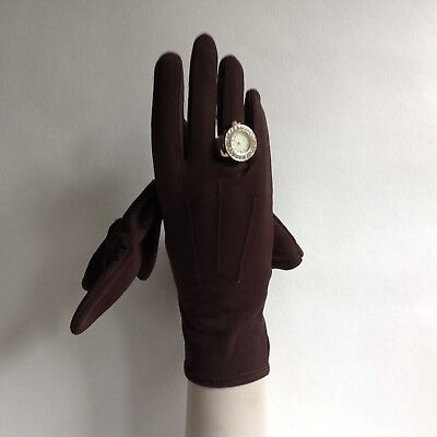 KIR Vintage 1950s Brown Nylon Evening Wrist Length Gloves Size 7