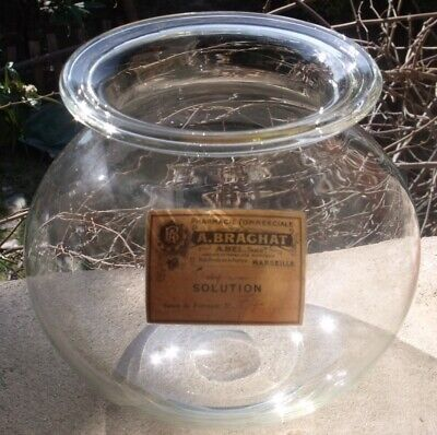 ANTIQUE c1860 BIG MEDICAL LEECHES JAR early with folded top rim lovely, pharmacy