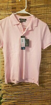 NWT Lauren Ralph Lauren Womens Large Polo Short Sleeve Shirt Pink Cotton
