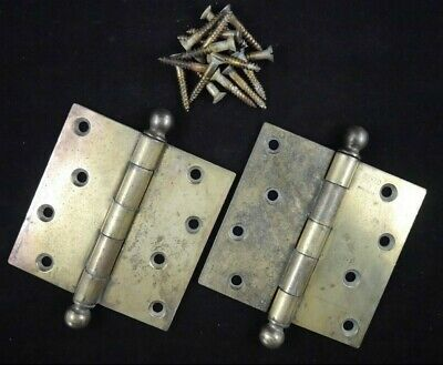 """Antique Vintage Stanley Sweetheart Ball Tip Hinges Pair 4"""" X 4"""" 1920's"""