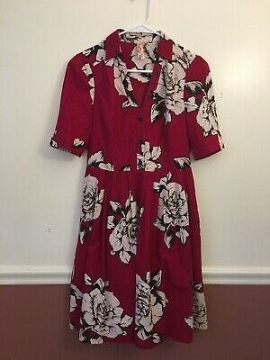 70e363fa6dde7 Anthropologie Maeve Dagmar Red Floral Shirt Dress Size 6 Short Sleeve Pleats