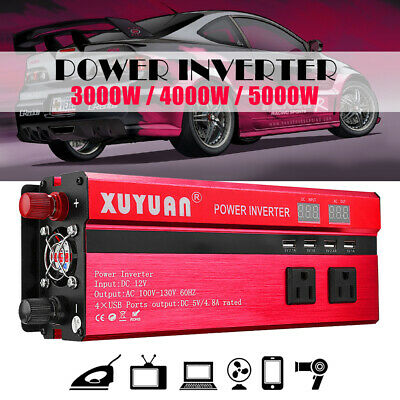 5000W Modified Sine Wave Power Inverter DC 12/24V to AC 110/220V Car Converter