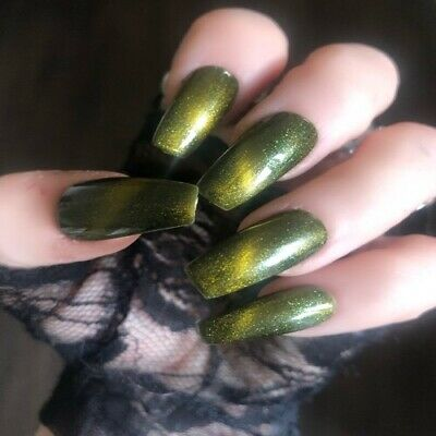 Hand Painted Coffin Long False Nails Green Gel Press On Nails Full Cover