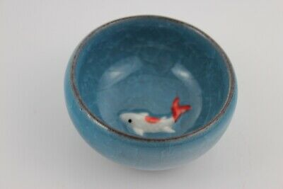 Chinese Ice-Crackle Porcelain Kung Fu Tea Cup/ Bowl Fish Pattern 7x3cm N:4
