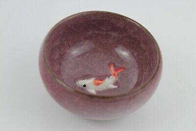 Chinese Ice-Crackle Porcelain Kung Fu Tea Cup/ Bowl Fish Pattern 7x3cm N:5