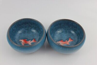 Chinese Ice-Crackle Porcelain Kung Fu Pair Tea Cup/ Bowl Fish Pattern 7x3cm